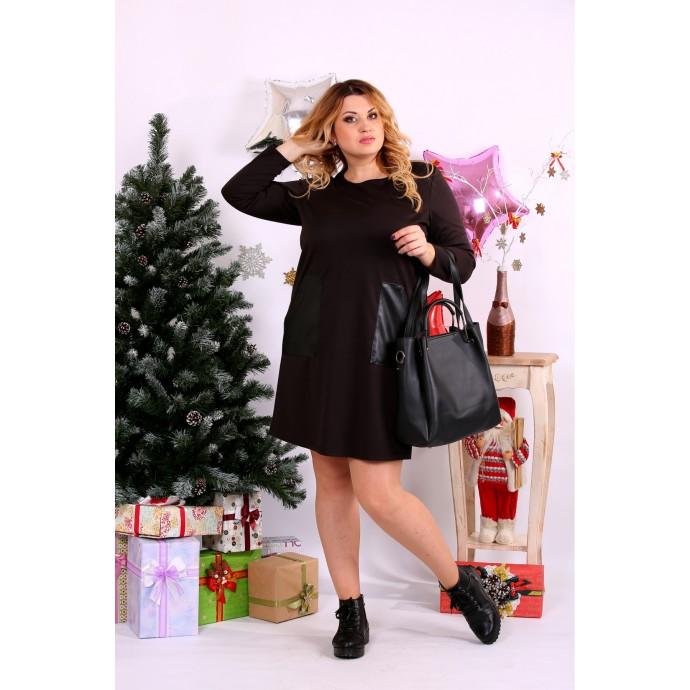 Прямое платье выше колена шоколад ККК1113-0663-3