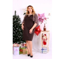 Платье с закрытыми плечами шоколад ККК1117-0661-3