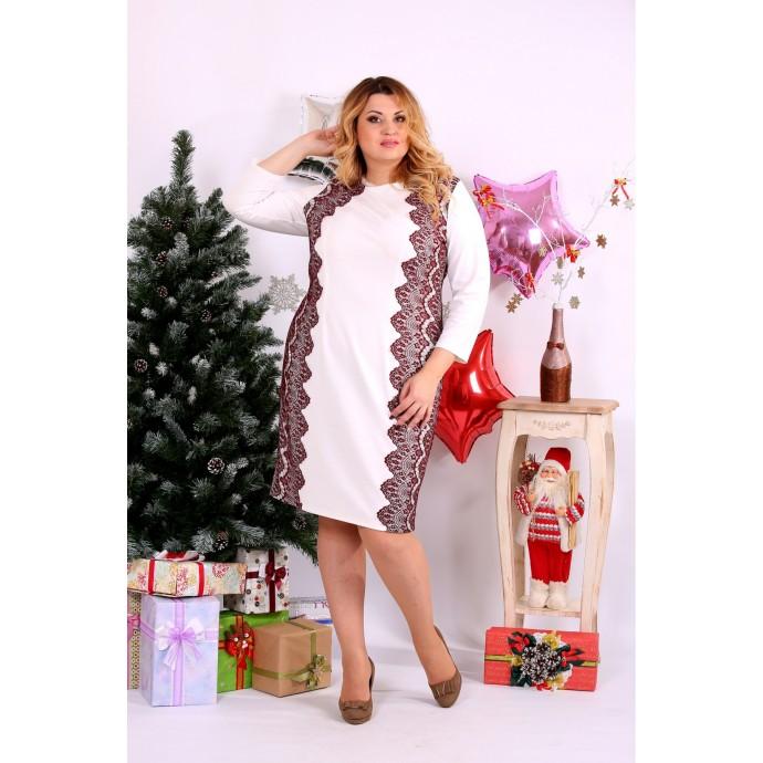 Белое платье с красным гипюром ККК1131-0657-1