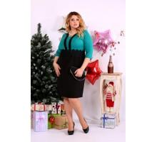 Бирюзовое с черным платье ККК1135-0655-3