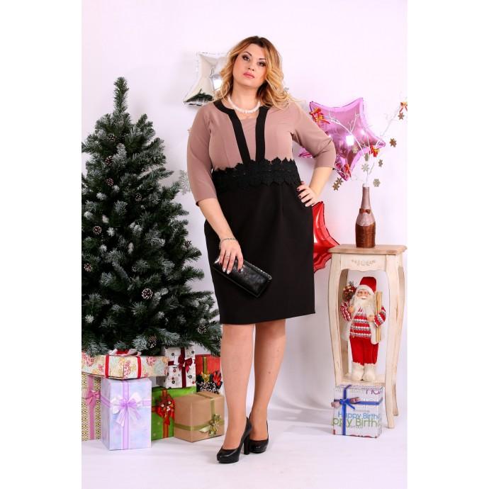 Бежевое с черным платье ККК1136-0655-2