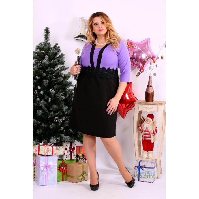Сиреневое комбинированное платье ККК1137-0655-1