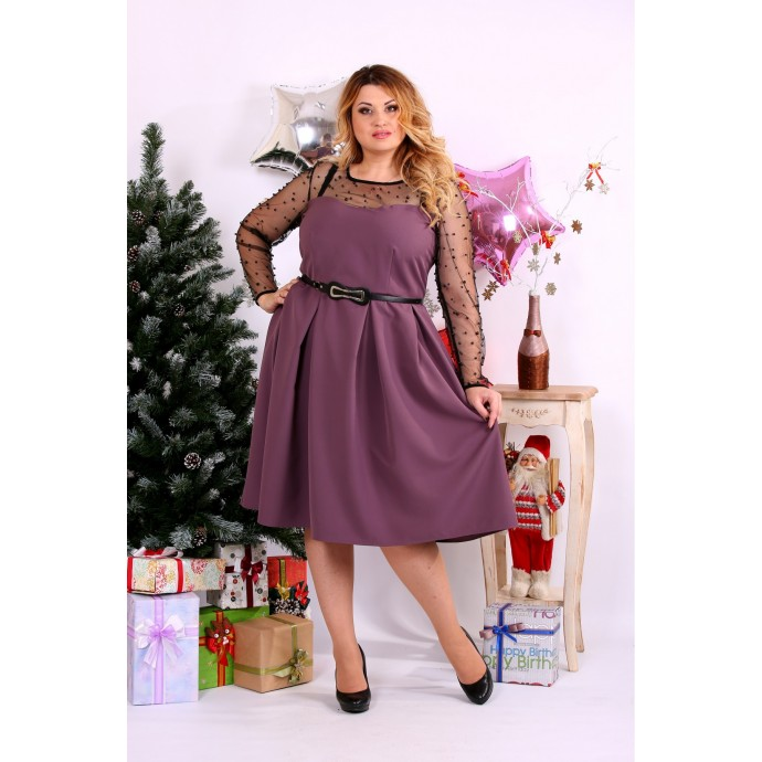 Бискивтное платье с сеткой и бусинами ККК117-0665-3