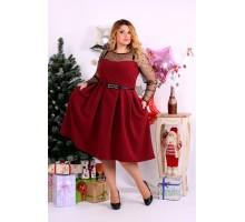 Бордовое платье с сеткой и бусинами ККК118-0665-2
