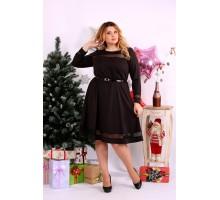 Шоколадное платье с сеточкой ККК1111-0664-2