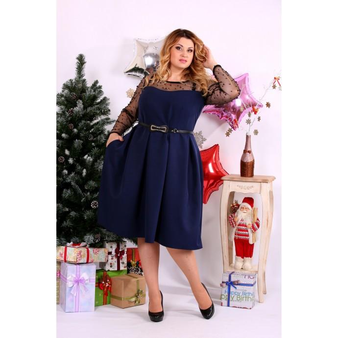 Синее платье с бусинками ККК119-0665-1