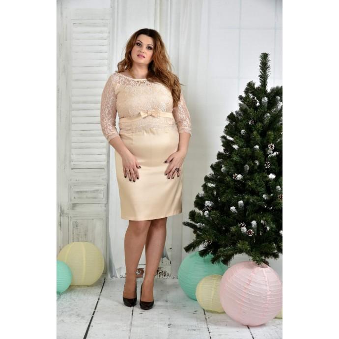 Бежевое платье ККК741-0381-2