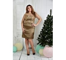 Горчичное платье ККК740-0381-3