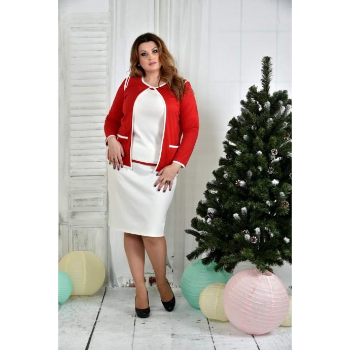 Костюм красный с белой юбкой 42-74 размер ККК711-0391-3-1