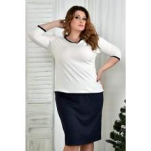 Блузка белая с синей отделкой 42-74 размер ККК79-0392-1