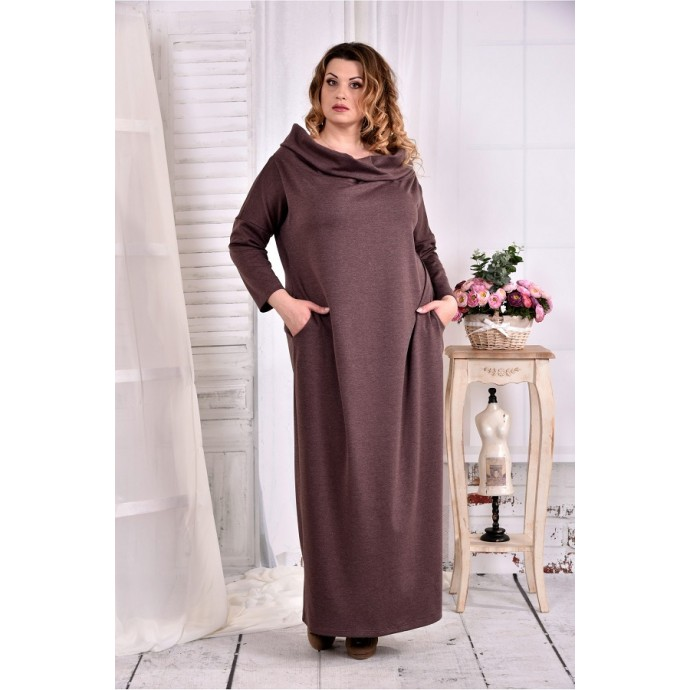 Коричневое платье с воротником ККК279-0570-3