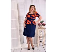 Платье с баской принт ККК267-0575-3