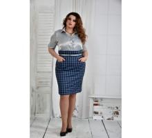 Серое платье клетка 42-74 размер ККК62-0394-2