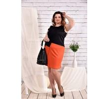 Черное с оранжевым платье 42-74 размер ККК437-0462-3