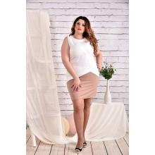 Белое с бежевым платье 42-74 размер ККК48-0472-2