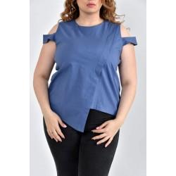 Блузка джинс 42-74 размеры ККК1020-0512-2