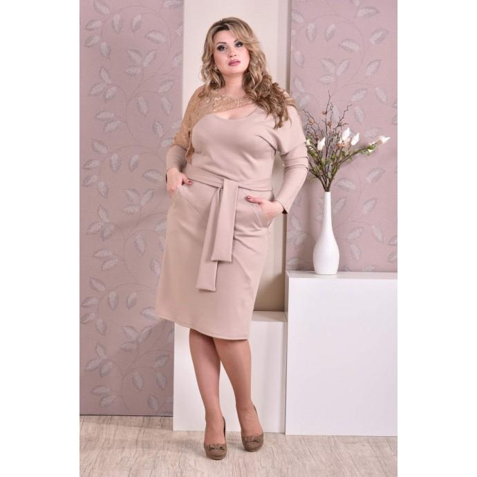 Бежевое платье ККК99-0208-2