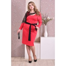 Коралловое платье ККК910-0208-3