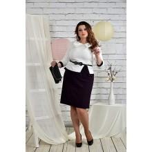 Платье белое с баклажановым 42-74 размер ККК216-0440-1