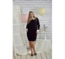 Офисное платье 42-74 размеры баклажанное ККК2-0446-2