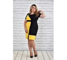Платье больших размеров желтое ККК1532-0334-2