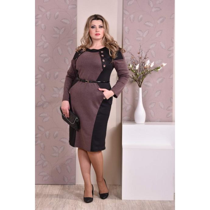 Коричневое с черным платье ККК83-0183-2