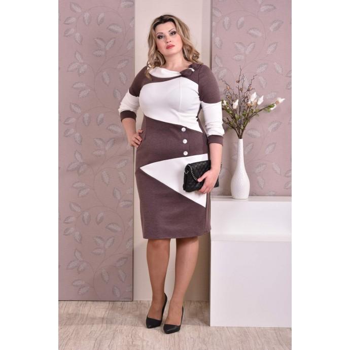 Коричневое с белым платье ККК85-0185-2