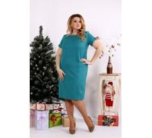 Зеленое строгое платье из костюмки ККК1214-0685-3