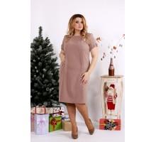 Бежевое стильное платье ККК1215-0685-2