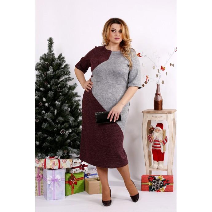 Бордовое с серым платье ККК1221-0683-2