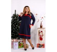 Синее платье с красными вставками ККК1224-0682-2