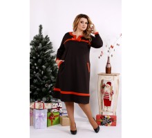 Шоколадное платье с оранжевыми вставками ККК1225-0682-1
