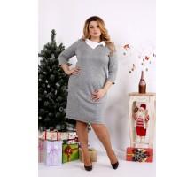 Светлое серое платье из ангоры ККК1226-0681-3