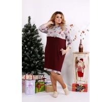 Бордовое платье с цветами и капюшоном ККК128-0688-3