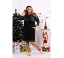 Черно-зеленое платье с принтом ККК1210-0688-1