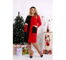 Алое яркое платье с карманами ККК1244-0673-3