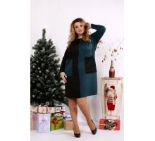 Платье зеленое с черным ККК1246-0673-1