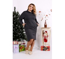 Темно-серое повседневное платье с воротником ККК1250-0671-3