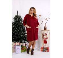 Бордовое платье с карманами ККК1235-0678-3