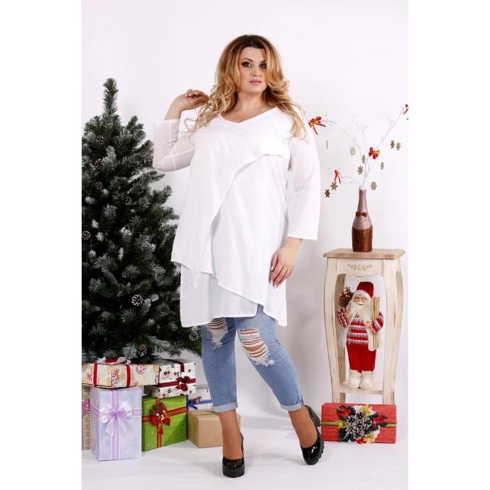 Белая блузка-туника на каждый день ККК1238-0675-3
