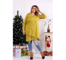 Повседневная блузка-туника горчичного цвета ККК1239-0675-2