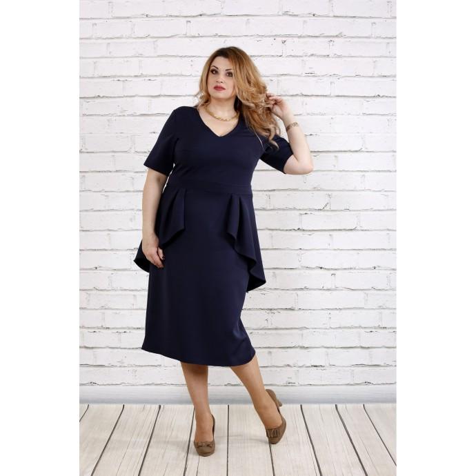 Темно-синее простое платье ККК182-0752-2
