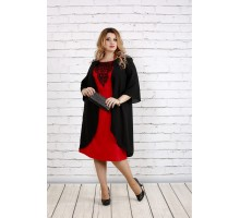 Черное свободное платье с алым ККК1818-0747-1
