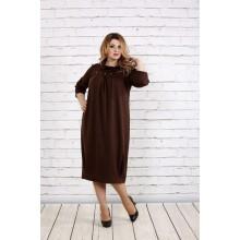 Шоколадное свободное платье с горловиной ККК1826-0744-2