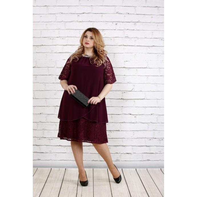Баклажановое платье свободного фасона ККК184-0751-3