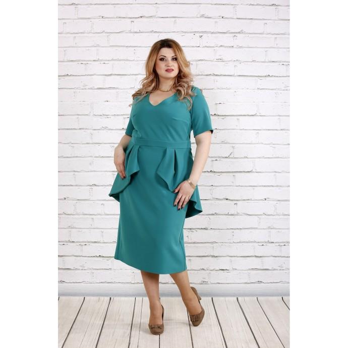 Бирюзовое красивое платье ККК181-0752-3