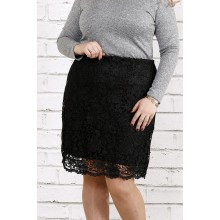 Черная трикотажная юбка с макраме ККК1848-0736-1