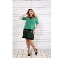 Зеленое платье с кружевом ККК1857-0733-1