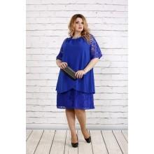Платье с гипюром цвета электрик ККК186-0751-1
