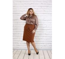 Кофейная шелковая блузка ККК187-0750-3